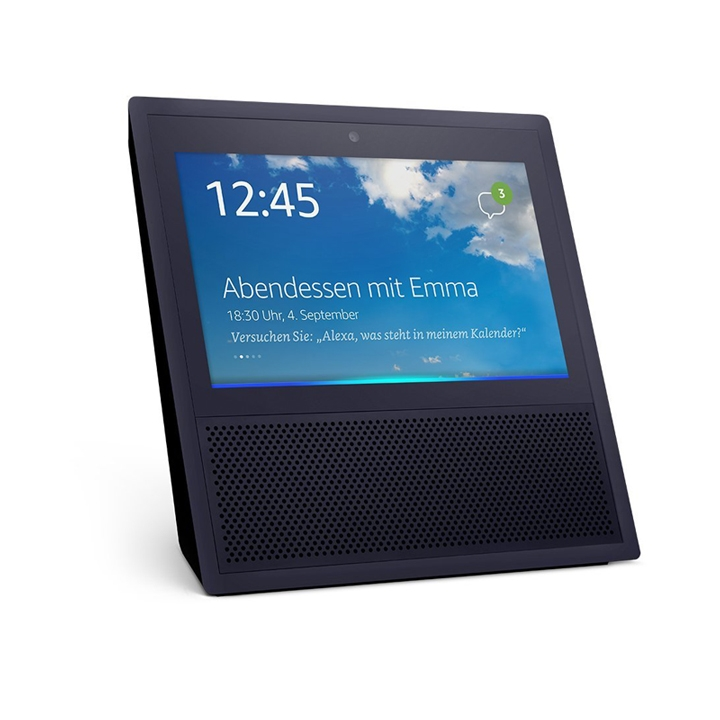 amazon echo show schwarz mit 7 zoll touchscreen und sprachassistent alexa ebay. Black Bedroom Furniture Sets. Home Design Ideas