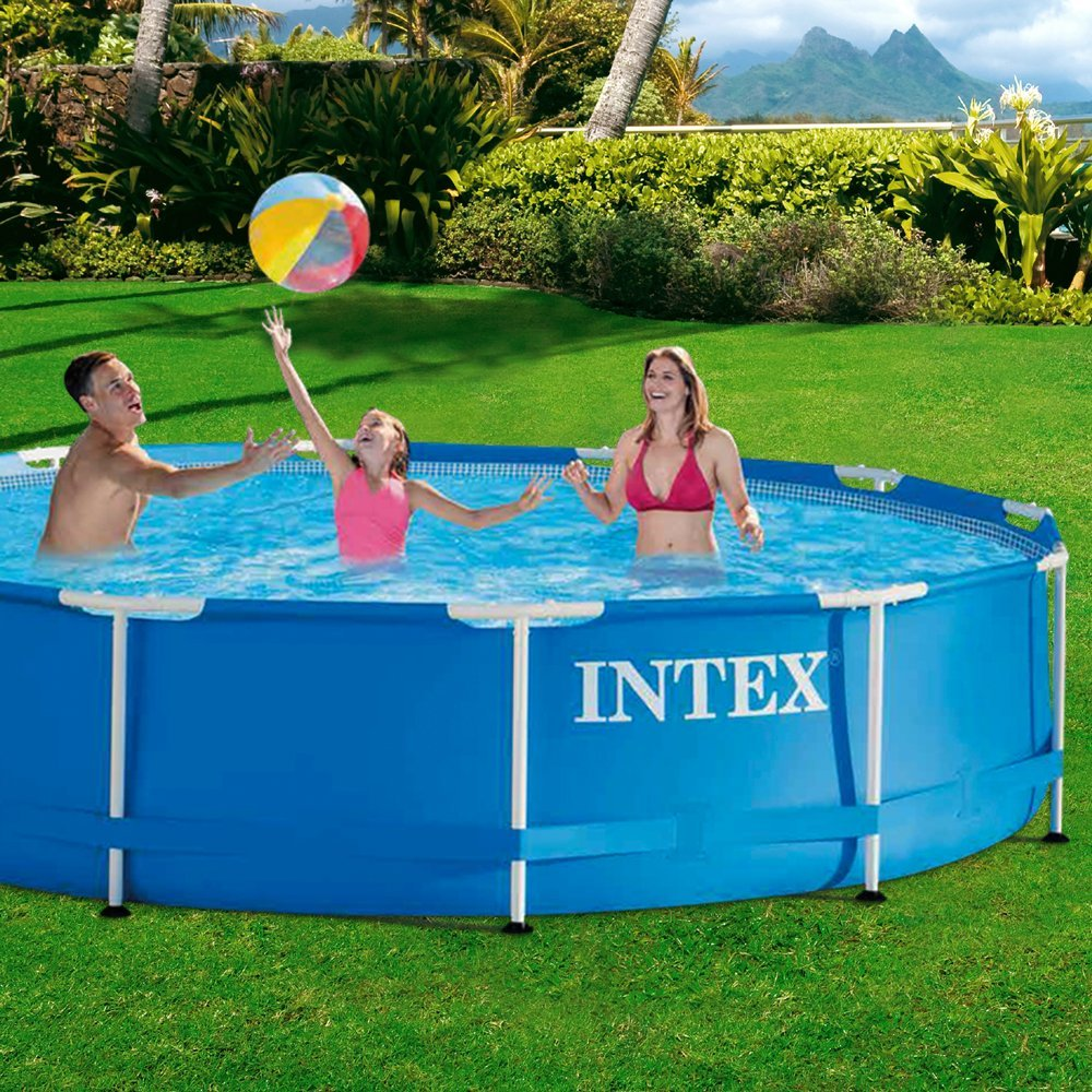intex 28210np aufstellpool frame pool set rondo blau 366 x 76 cm ohne pumpe. Black Bedroom Furniture Sets. Home Design Ideas