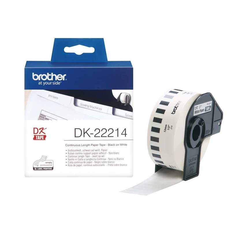 Brother DK22214 P-Touch continue length Papier 12mm x 30.48 m
