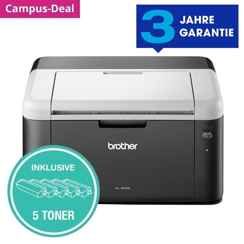 Brother HL-1212WVB Laserdrucker Bundle inkl 5 Toner