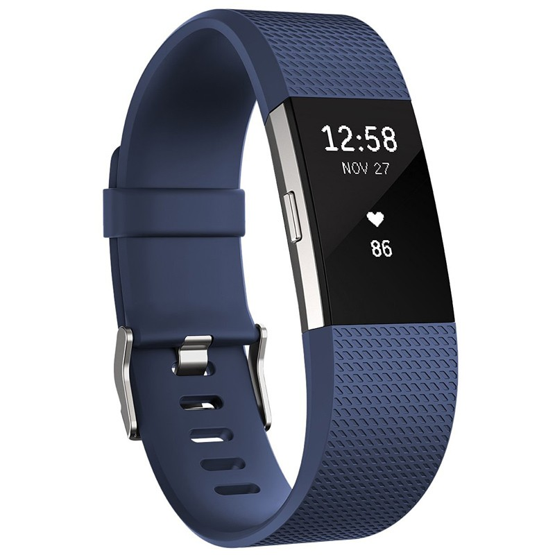 Fitbit Charge 2 Fitnessarmband Large Blau-Silber