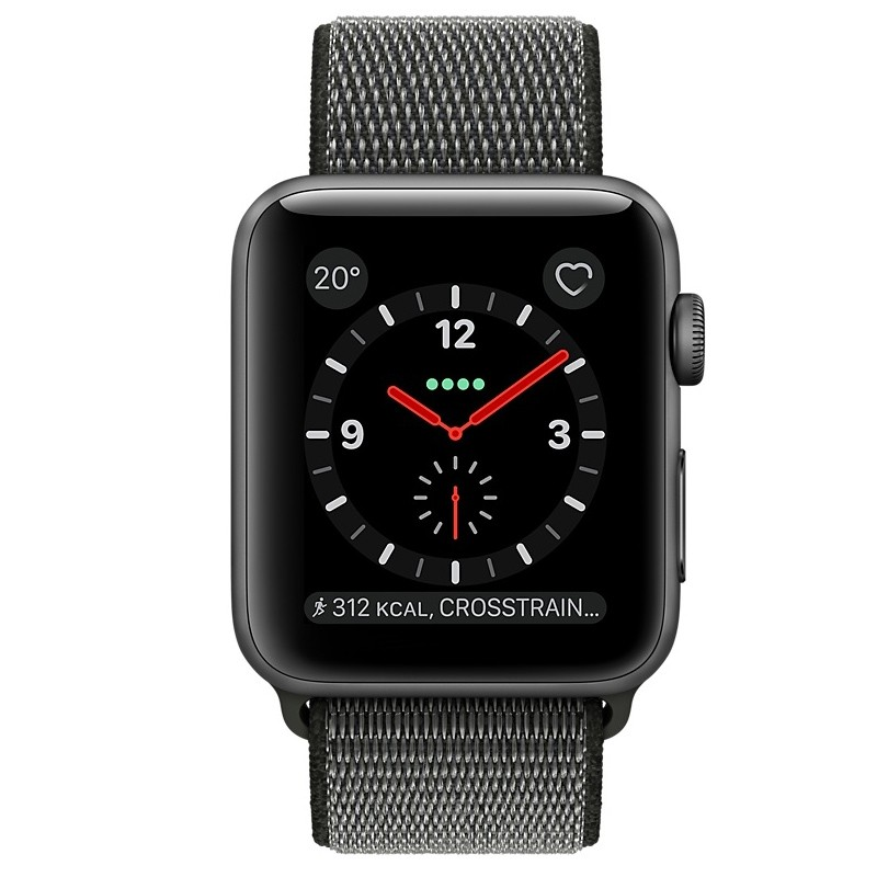 Apple Watch Series 3 GPS + LTE 42mm Space Grau Alu Sport Loop Dunkeloliv