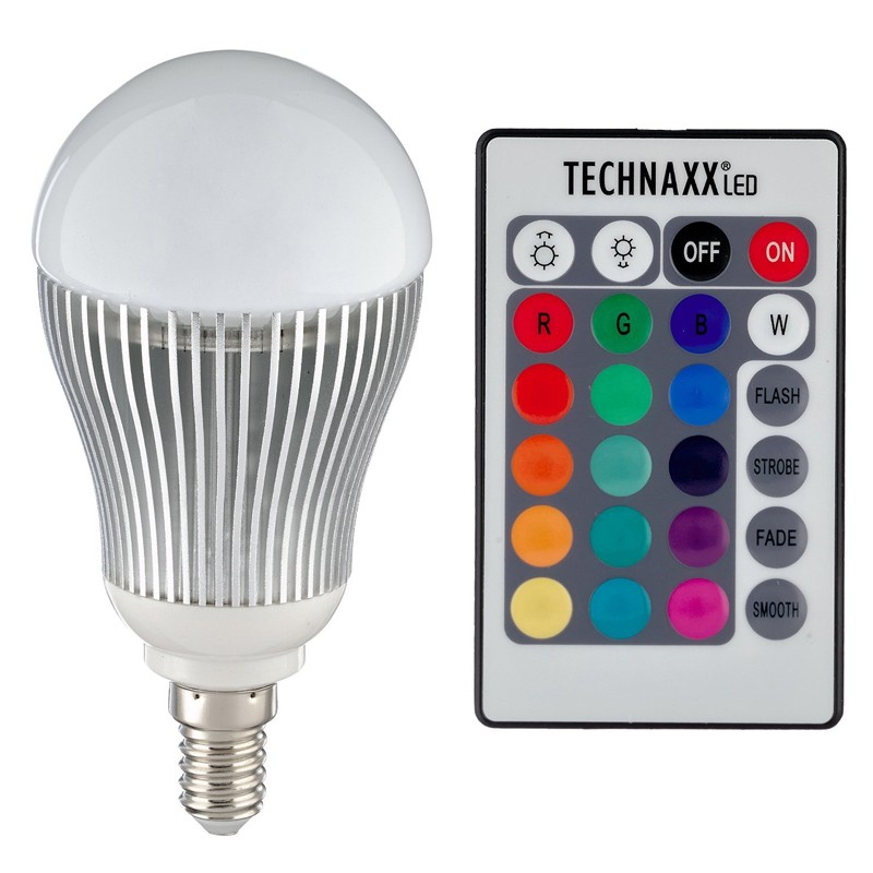 technaxx led rgb lampe e14 5w mit fernbedienung. Black Bedroom Furniture Sets. Home Design Ideas