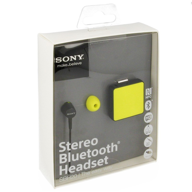 Sony BT Headset Stereo SBH20 lime/schwarz
