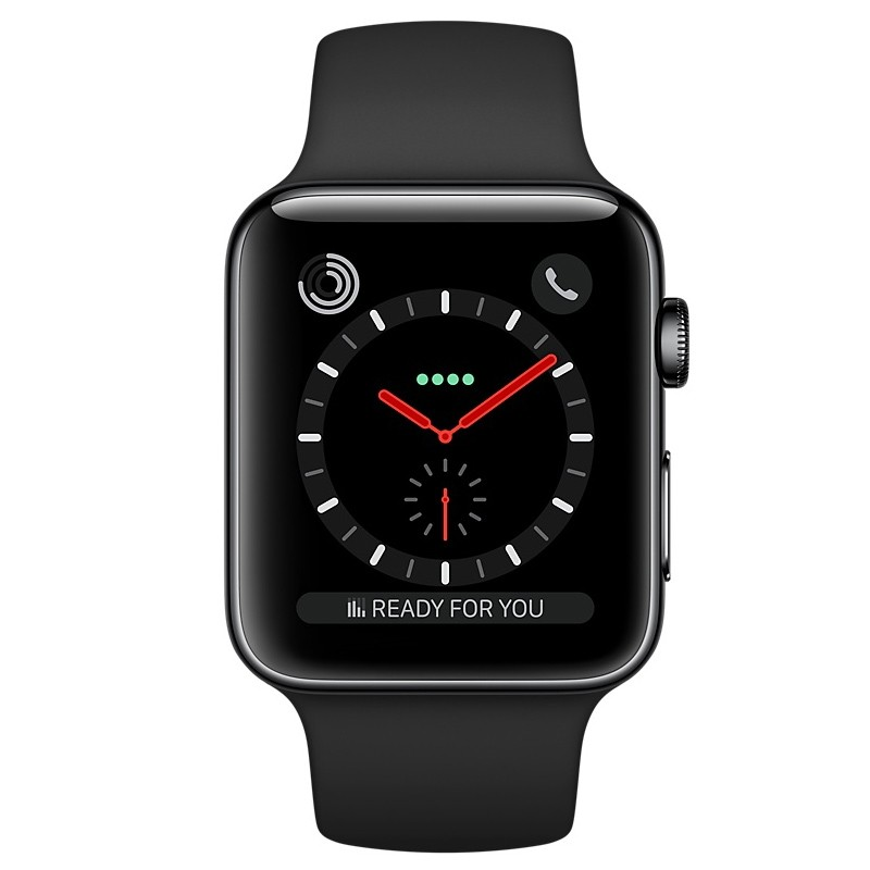 Apple Watch Series 3 GPS + LTE 42mm Space Grau Alu Sport Band Schwarz