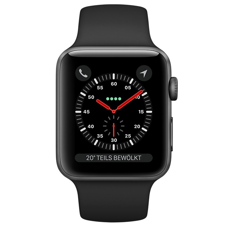Apple Watch Series 3 38 mm Aluminiumgehäuse space grau Sportarmband schwarz