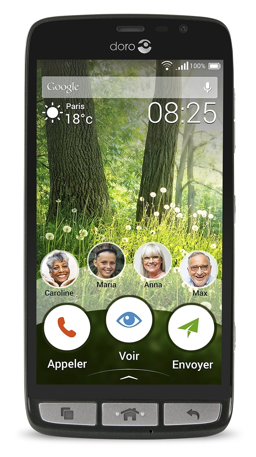 Doro Liberto 825 LTE Smartphone (5 Zoll Touch-Display, 8 GB Speicher, Android 5.1) schwarz