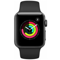 Apple Watch Series 3 GPS 42 mm Aluminiumgehäuse space grau Sportarmband schwarz